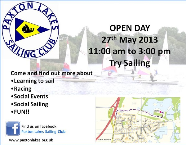Paxton Lakes Sailing Club Open Day 27th May 2013